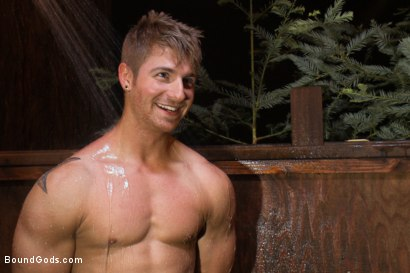Photo number 15 from The Cabin Series #3 - The Story of Lust and Betrayal  shot for Bound Gods on Kink.com. Featuring Ricky Sinz, Morgan Black, Tyler Alexander and Logan Vaughn in hardcore BDSM & Fetish porn.
