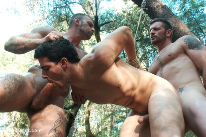 Photo number 11 from The Cabin Series #4 - Bound and Fucked in the Woods shot for Bound Gods on Kink.com. Featuring Ricky Sinz, Morgan Black and Tyler Alexander in hardcore BDSM & Fetish porn.