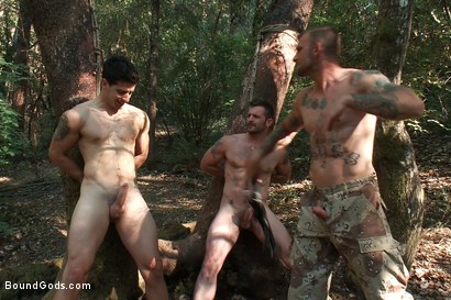 Photo number 6 from The Cabin Series #4 - Bound and Fucked in the Woods shot for Bound Gods on Kink.com. Featuring Ricky Sinz, Morgan Black and Tyler Alexander in hardcore BDSM & Fetish porn.