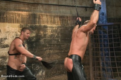 Photo number 4 from A Struggle for Power shot for Bound Gods on Kink.com. Featuring Jeremy Stevens and Dirk Caber in hardcore BDSM & Fetish porn.