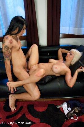 """Photo number 12 from Ts Honey Foxxx Scams a Scammer in """"Take This Job and Fuck Me"""" shot for TS Pussy Hunters on Kink.com. Featuring Honey FoXXX and Cherry Torn in hardcore BDSM & Fetish porn."""