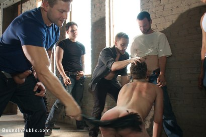 Photo number 10 from Hazing the brand new boy in front of a crowd - CMNM style shot for Bound in Public on Kink.com. Featuring Dakota Wolfe, Colby Jansen and Tristan Jaxx in hardcore BDSM & Fetish porn.