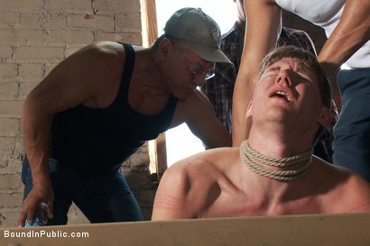 Photo number 3 from Hazing the brand new boy in front of a crowd - CMNM style shot for Bound in Public on Kink.com. Featuring Dakota Wolfe, Colby Jansen and Tristan Jaxx in hardcore BDSM & Fetish porn.
