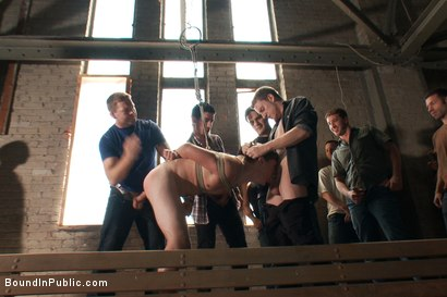 Photo number 9 from Hazing the brand new boy in front of a crowd - CMNM style shot for Bound in Public on Kink.com. Featuring Dakota Wolfe, Colby Jansen and Tristan Jaxx in hardcore BDSM & Fetish porn.