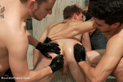 Photo number 9 from 19 Year Old Studs! Gang Fucked, The Belt, Piss, The Wall of Cocks, Cum Facial shot for Bound in Public on Kink.com. Featuring Dakota Wolfe, Colby Jansen and Tristan Jaxx in hardcore BDSM & Fetish porn.