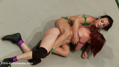 "Photo number 3 from Bryn ""The Law"" Blayne vs Newbie Odile "" aka ""Dynamo"" shot for Ultimate Surrender on Kink.com. Featuring Bryn Blayne and Odile in hardcore BDSM & Fetish porn."