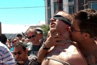 Photo number 2 from Cody Allen - Naked, Tied up, Zippered, Humiliated in Public shot for Bound in Public on Kink.com. Featuring Cody Allen, Sebastian Keys and Master Avery in hardcore BDSM & Fetish porn.