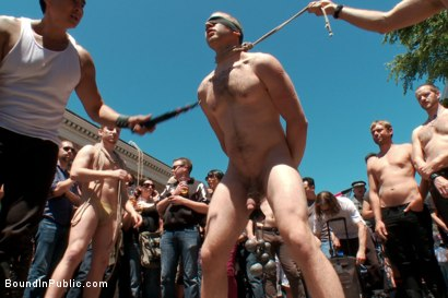 Photo number 3 from Cody Allen - Naked, Tied up, Zippered, Humiliated in Public shot for Bound in Public on Kink.com. Featuring Cody Allen, Sebastian Keys and Master Avery in hardcore BDSM & Fetish porn.