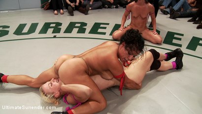 Photo number 9 from July Tag Team: Rd 1- 4 Sexy Wrestlers Battle for Dominance and Control shot for Ultimate Surrender on Kink.com. Featuring Izamar Gutierrez, Dylan Ryan, Krissy Lynn and Wenona in hardcore BDSM & Fetish porn.