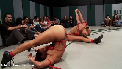 Photo number 2 from July Tag Team: Rd 1- 4 Sexy Wrestlers Battle for Dominance and Control shot for Ultimate Surrender on Kink.com. Featuring Izamar Gutierrez, Dylan Ryan, Krissy Lynn and Wenona in hardcore BDSM & Fetish porn.