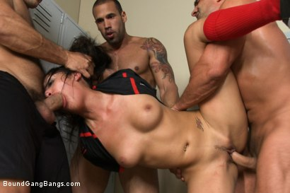 Photo number 5 from The Soccer Fan:First Gangbang, DP, Double Anal, Double Vag, Triple Pen shot for Bound Gang Bangs on Kink.com. Featuring Ramon Nomar, Vicki Chase, Karlo Karrera, Danny Mountain, Toni Ribas and James Deen in hardcore BDSM & Fetish porn.