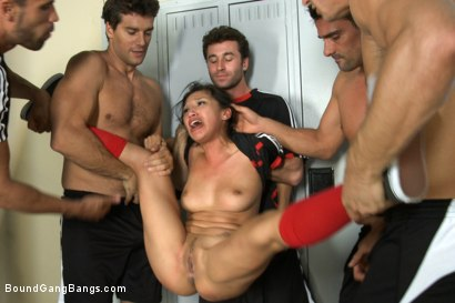 Photo number 2 from The Soccer Fan:First Gangbang, DP, Double Anal, Double Vag, Triple Pen shot for Bound Gang Bangs on Kink.com. Featuring Ramon Nomar, Vicki Chase, Karlo Karrera, Danny Mountain, Toni Ribas and James Deen in hardcore BDSM & Fetish porn.
