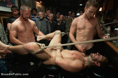 Photo number 12 from Naked ripped stud gets humiliated and used in a crowded public bar. shot for Bound in Public on Kink.com. Featuring Bryan Cole, Adam Herst and Tristan Jaxx in hardcore BDSM & Fetish porn.