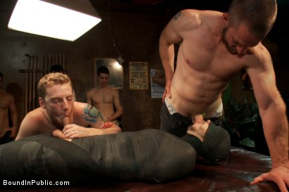 Photo number 1 from Tickle Torment A Ripped Stud in a Public Bar shot for Bound in Public on Kink.com. Featuring Bryan Cole, Adam Herst and Tristan Jaxx in hardcore BDSM & Fetish porn.