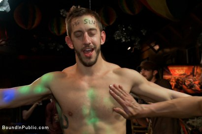 Photo number 4 from Tickle Torment A Ripped Stud in a Public Bar shot for Bound in Public on Kink.com. Featuring Bryan Cole, Adam Herst and Tristan Jaxx in hardcore BDSM & Fetish porn.