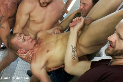 Photo number 7 from Corporate cunt gets his mouth and ass violated by a mob of horny men.  shot for Bound in Public on Kink.com. Featuring Morgan Black and Randall O'Reilly in hardcore BDSM & Fetish porn.