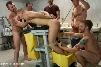Photo number 8 from Corporate cunt gets his mouth and ass violated by a mob of horny men.  shot for Bound in Public on Kink.com. Featuring Morgan Black and Randall O'Reilly in hardcore BDSM & Fetish porn.