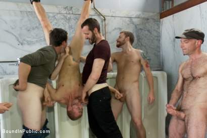 Photo number 6 from Corporate cunt gets his mouth and ass violated by a mob of horny men.  shot for Bound in Public on Kink.com. Featuring Morgan Black and Randall O'Reilly in hardcore BDSM & Fetish porn.