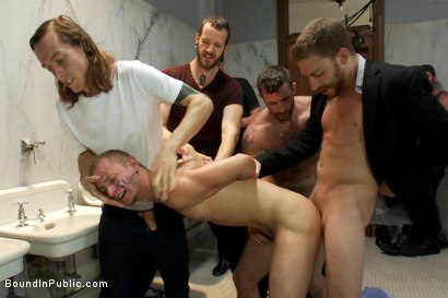 Photo number 3 from Corporate cunt gets his mouth and ass violated by a mob of horny men.  shot for Bound in Public on Kink.com. Featuring Morgan Black and Randall O'Reilly in hardcore BDSM & Fetish porn.