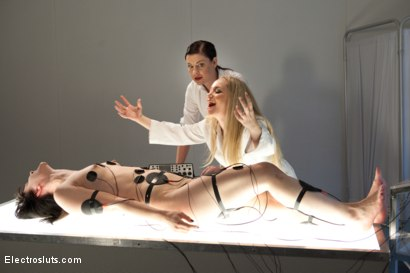 Photo number 5 from Electrosluts Presents: The Doctor's Monster! shot for Electro Sluts on Kink.com. Featuring Katharine Cane, Sovereign Syre and Aiden Starr in hardcore BDSM & Fetish porn.