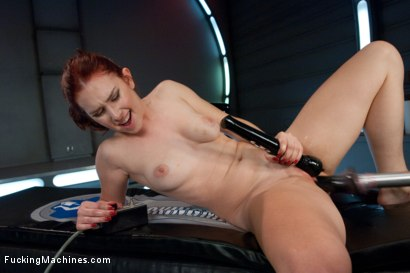 Sassy Red Head with Gorgeous Long Legs Fucked OUT by Machines