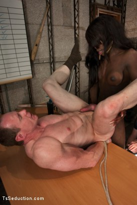 Photo number 11 from Turning out a Pig: TS Bambi Seduces the Creepy Coach at the Reunion shot for TS Seduction on Kink.com. Featuring Bambi Prescott and Big Red in hardcore BDSM & Fetish porn.