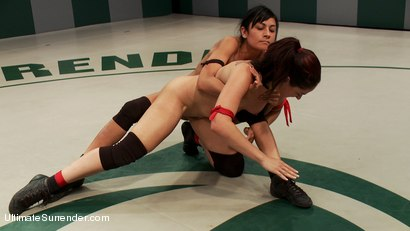 Photo number 7 from Rough Rider takes on the veteran Pistol in her first match.  shot for Ultimate Surrender on Kink.com. Featuring Sheena Ryder and Beretta James in hardcore BDSM & Fetish porn.