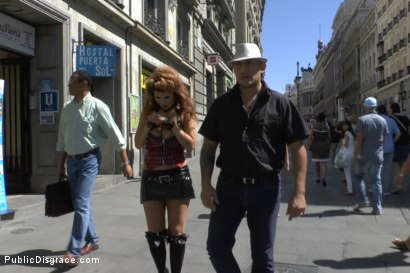 Photo number 1 from Cum Guzzling Euro trash Whore, Hanna Montada, gets fucked like a sex doll in busy urban Madrid shot for Public Disgrace on Kink.com. Featuring Omar Galanti, Steve Holmes and Hanna Montada in hardcore BDSM & Fetish porn.