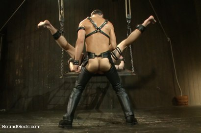 Photo number 13 from Master Avery ties up, torments, zips, zaps, flogs and fucks his boy shot for Bound Gods on Kink.com. Featuring Troy Daniels and Master Avery in hardcore BDSM & Fetish porn.