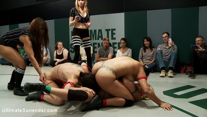 Photo number 14 from August Tag Team Match-Up! shot for Ultimate Surrender on Kink.com. Featuring DragonLily, Mistress Kara, Rain DeGrey, Katie Summers, Izamar Gutierrez, Bryn Blayne and Princess Donna Dolore in hardcore BDSM & Fetish porn.