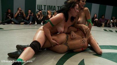 Photo number 12 from Tag Team Match-Up: Did you Miss Me? Princess Donna Saves the Day!! shot for Ultimate Surrender on Kink.com. Featuring DragonLily, Mistress Kara, Rain DeGrey, Katie Summers, Izamar Gutierrez, Bryn Blayne and Princess Donna Dolore in hardcore BDSM & Fetish porn.