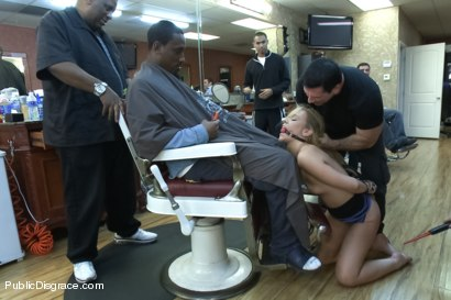 Photo number 2 from Little Barbershop of WHORE: A Shave and A Haircut, TWO TITS! shot for Public Disgrace on Kink.com. Featuring John Strong and Shani Reid in hardcore BDSM & Fetish porn.