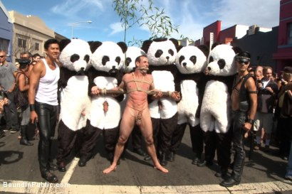 Photo number 3 from Naked Pandas Trick or Treat - Just in time for Halloween shot for Bound in Public on Kink.com. Featuring Master Avery, Jason Miller and Sebastian Keys in hardcore BDSM & Fetish porn.