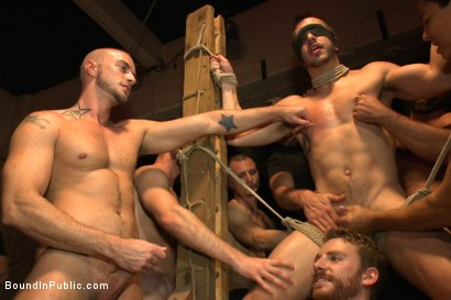 Photo number 8 from A handsome hunk gets ganged up by 100 horny men during Folsom weekend. shot for Bound in Public on Kink.com. Featuring Josh West, Jessie Colter and Bryan Cole in hardcore BDSM & Fetish porn.