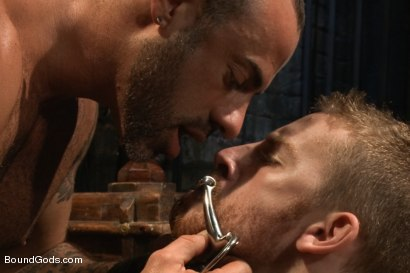 Photo number 4 from CJ Madison returns with a tight chain around his boy's neck. shot for Bound Gods on Kink.com. Featuring CJ Madison and Sebastian Keys in hardcore BDSM & Fetish porn.