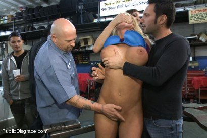 Photo number 15 from Busty Blonde Defiled in Public. Pretty Hair Used to mop up Oil shot for Public Disgrace on Kink.com. Featuring Tommy Pistol and Leya Falcon in hardcore BDSM & Fetish porn.