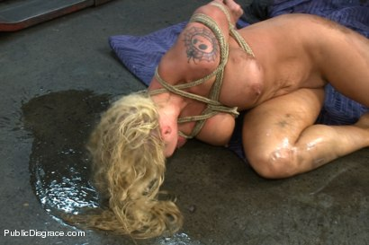 Photo number 14 from Busty Blonde Defiled in Public. Pretty Hair Used to mop up Oil shot for Public Disgrace on Kink.com. Featuring Tommy Pistol and Leya Falcon in hardcore BDSM & Fetish porn.