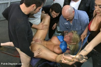 Photo number 4 from Busty Blonde Defiled in Public. Pretty Hair Used to mop up Oil shot for Public Disgrace on Kink.com. Featuring Tommy Pistol and Leya Falcon in hardcore BDSM & Fetish porn.