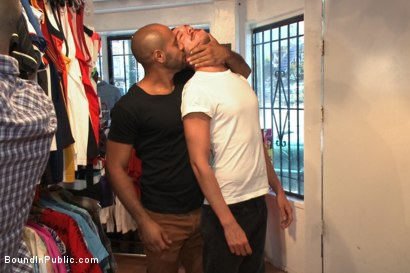 Photo number 1 from Fresh Southern meat gets used in a clothing store shot for Bound in Public on Kink.com. Featuring Jordan Foster, Chris Tyler and Leo Forte in hardcore BDSM & Fetish porn.