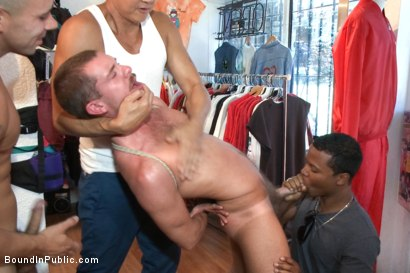 Photo number 8 from Fresh Southern meat gets used in a clothing store shot for Bound in Public on Kink.com. Featuring Jordan Foster, Chris Tyler and Leo Forte in hardcore BDSM & Fetish porn.