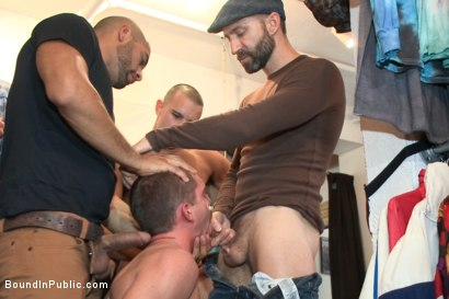 Photo number 5 from Fresh Southern meat gets used in a clothing store shot for Bound in Public on Kink.com. Featuring Jordan Foster, Chris Tyler and Leo Forte in hardcore BDSM & Fetish porn.