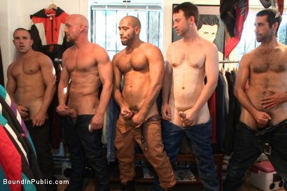 Photo number 11 from Fresh Southern meat gets used in a clothing store shot for Bound in Public on Kink.com. Featuring Jordan Foster, Chris Tyler and Leo Forte in hardcore BDSM & Fetish porn.