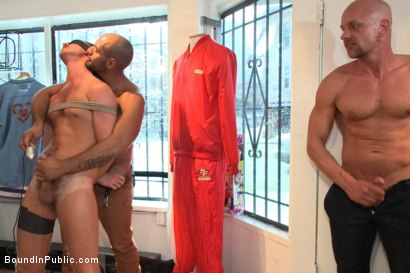 Photo number 1 from Sexy stud endures electricity, cocks and feet in a clothing store. shot for Bound in Public on Kink.com. Featuring Jordan Foster and Leo Forte in hardcore BDSM & Fetish porn.
