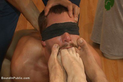 Photo number 12 from Sexy stud endures electricity, cocks and feet in a clothing store. shot for Bound in Public on Kink.com. Featuring Jordan Foster and Leo Forte in hardcore BDSM & Fetish porn.