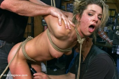 Photo number 14 from Tiny Blonde Fucked in a Biker Bar and Used as Human Ashtray shot for Public Disgrace on Kink.com. Featuring Mark Davis and Dahlia Sky in hardcore BDSM & Fetish porn.