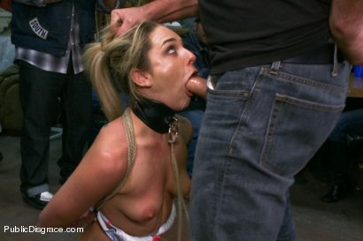 Photo number 5 from Tiny Blonde Fucked in a Biker Bar and Used as Human Ashtray shot for Public Disgrace on Kink.com. Featuring Mark Davis and Dahlia Sky in hardcore BDSM & Fetish porn.