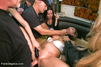 Photo number 7 from Tiny Blonde Fucked in a Biker Bar and Used as Human Ashtray shot for Public Disgrace on Kink.com. Featuring Mark Davis and Dahlia Sky in hardcore BDSM & Fetish porn.