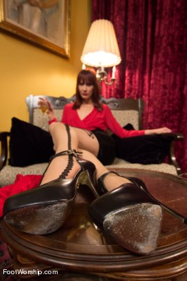"Photo number 14 from Room 417: ""The Foot Fetishist"" shot for Foot Worship on Kink.com. Featuring John Jammen and Maitresse Madeline Marlowe in hardcore BDSM & Fetish porn."