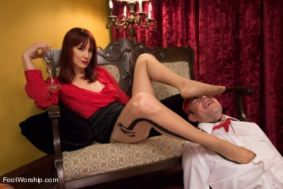 "Photo number 15 from Room 417: ""The Foot Fetishist"" shot for Foot Worship on Kink.com. Featuring John Jammen and Maitresse Madeline Marlowe in hardcore BDSM & Fetish porn."