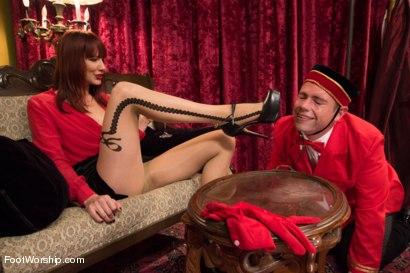 "Photo number 3 from Room 417: ""The Foot Fetishist"" shot for Foot Worship on Kink.com. Featuring John Jammen and Maitresse Madeline Marlowe in hardcore BDSM & Fetish porn."